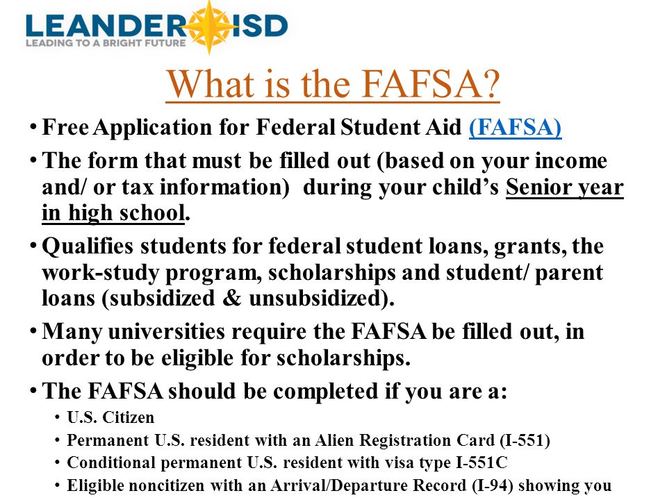 What is the FAFSA Free Application for Federal Student Aid (FAFSA)