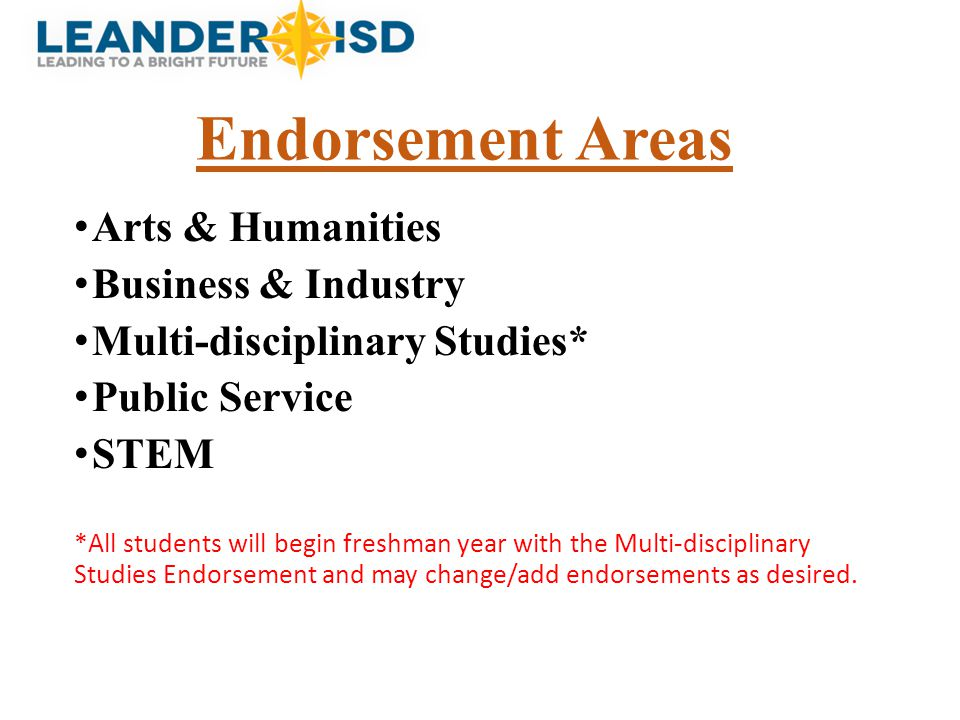 Endorsement Areas Arts & Humanities Business & Industry