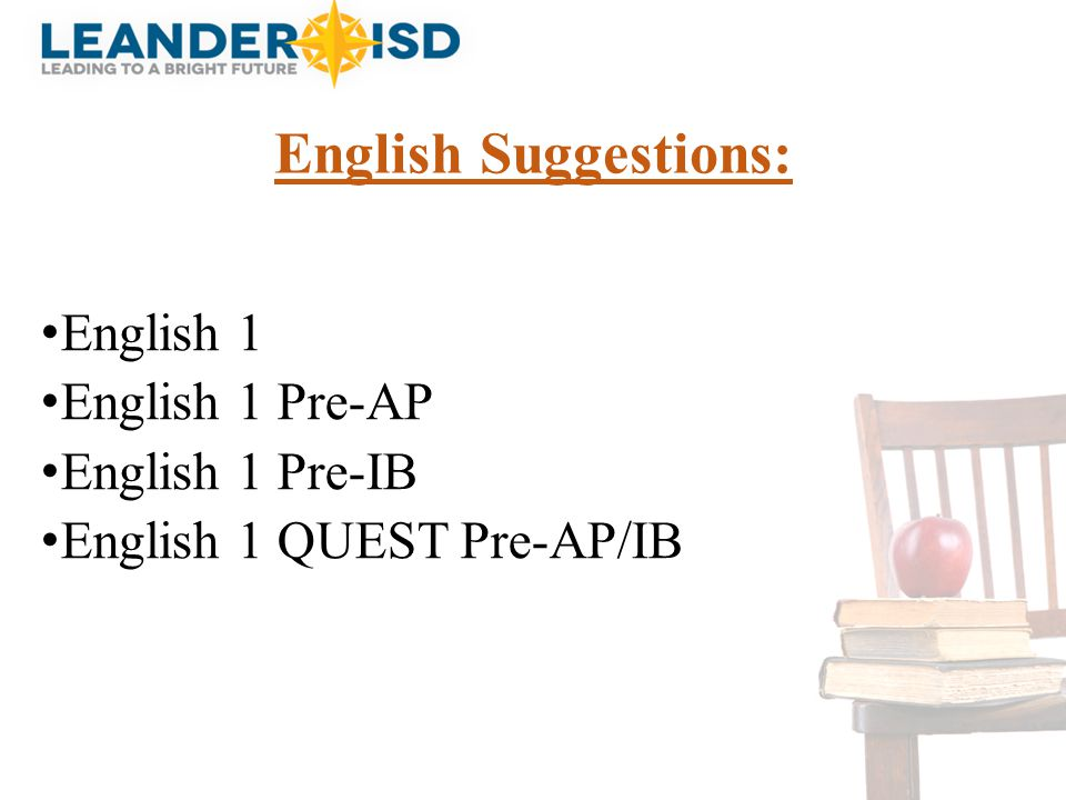 English Suggestions: English 1 English 1 Pre-AP English 1 Pre-IB