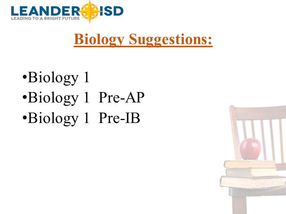 Biology Suggestions: Biology 1 Biology 1 Pre-AP Biology 1 Pre-IB DUANE