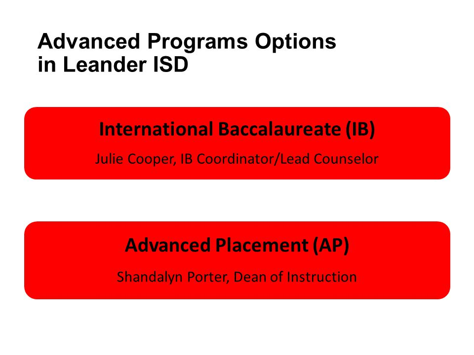 Advanced Programs Options in Leander ISD