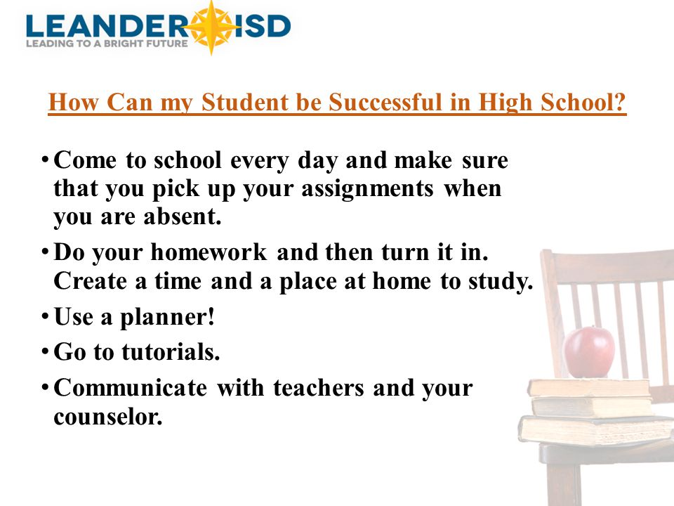 How Can my Student be Successful in High School