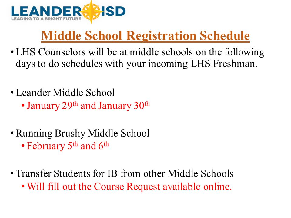 Middle School Registration Schedule
