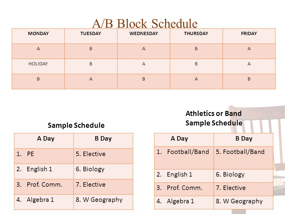 Athletics or Band Sample Schedule