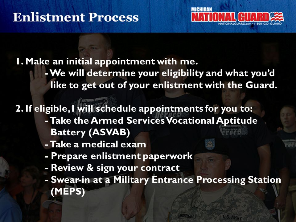 1. Make an initial appointment with me.