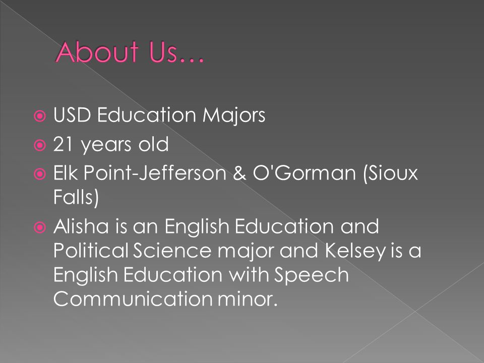 About Us… USD Education Majors 21 years old