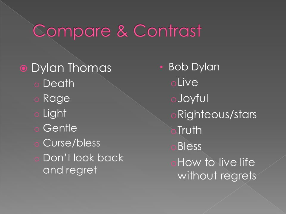Compare & Contrast Dylan Thomas Live Joyful Righteous/stars Truth