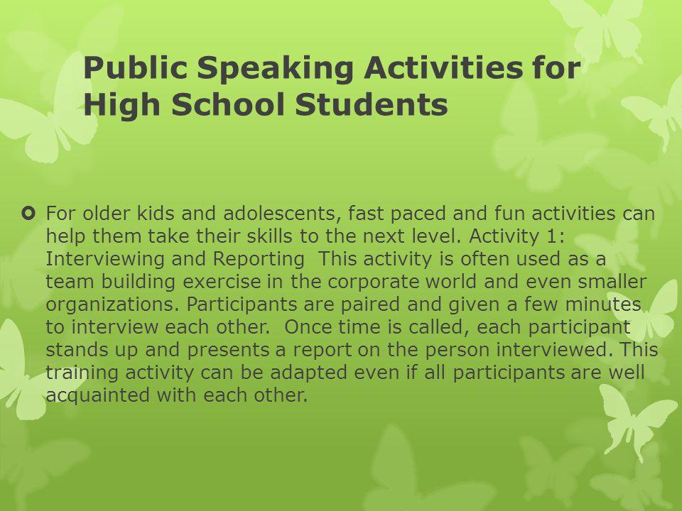 Public Speaking Activities for High School Students