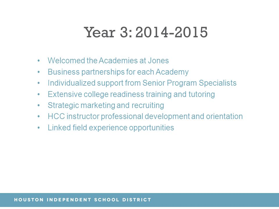 Year 3: 2014-2015 Welcomed the Academies at Jones