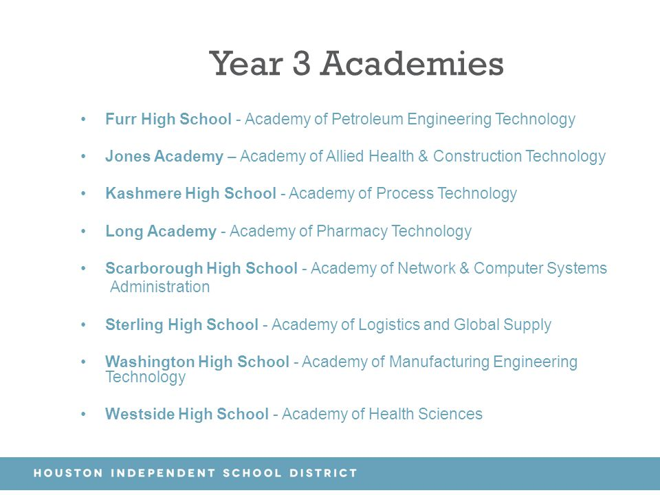 Year 3 Academies Furr High School - Academy of Petroleum Engineering Technology. Jones Academy – Academy of Allied Health & Construction Technology.