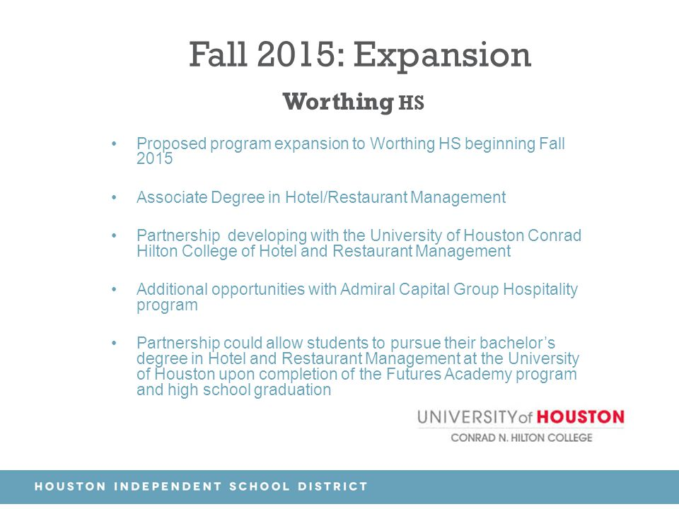 Fall 2015: Expansion Worthing HS