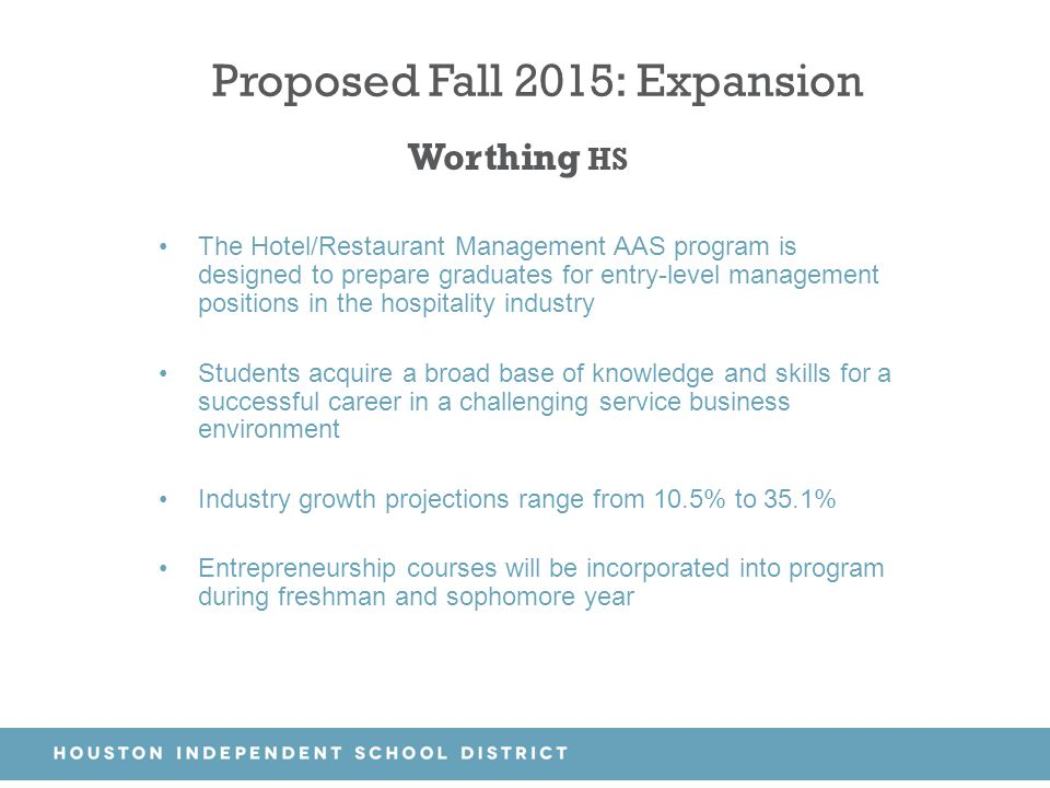 Proposed Fall 2015: Expansion