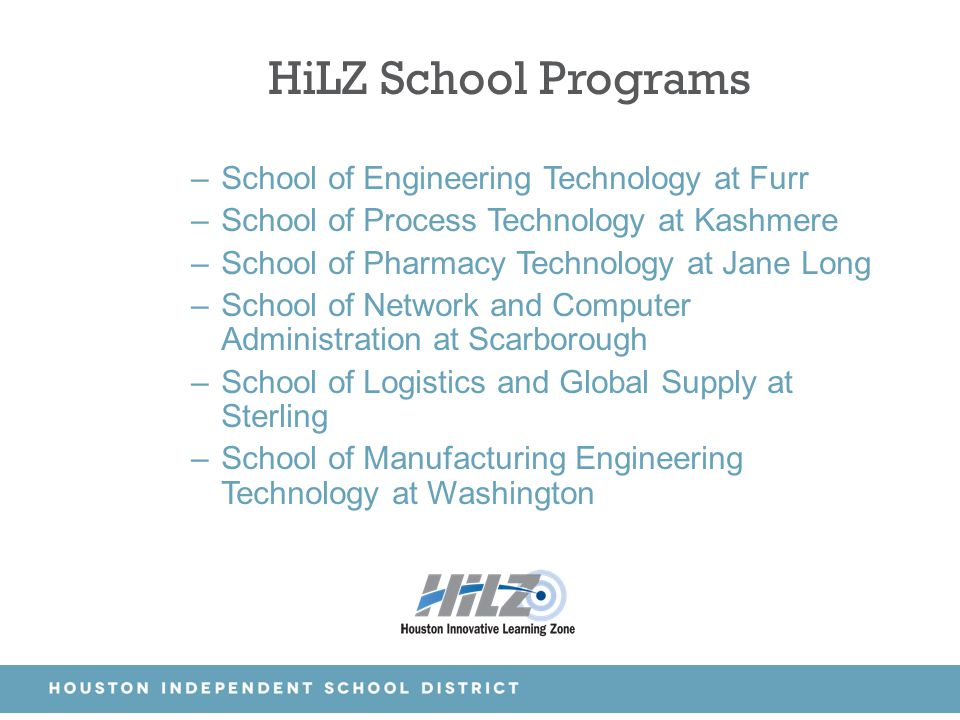 HiLZ School Programs School of Engineering Technology at Furr