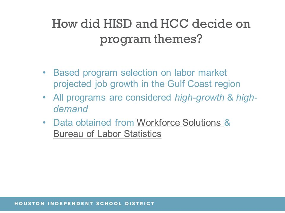 How did HISD and HCC decide on program themes