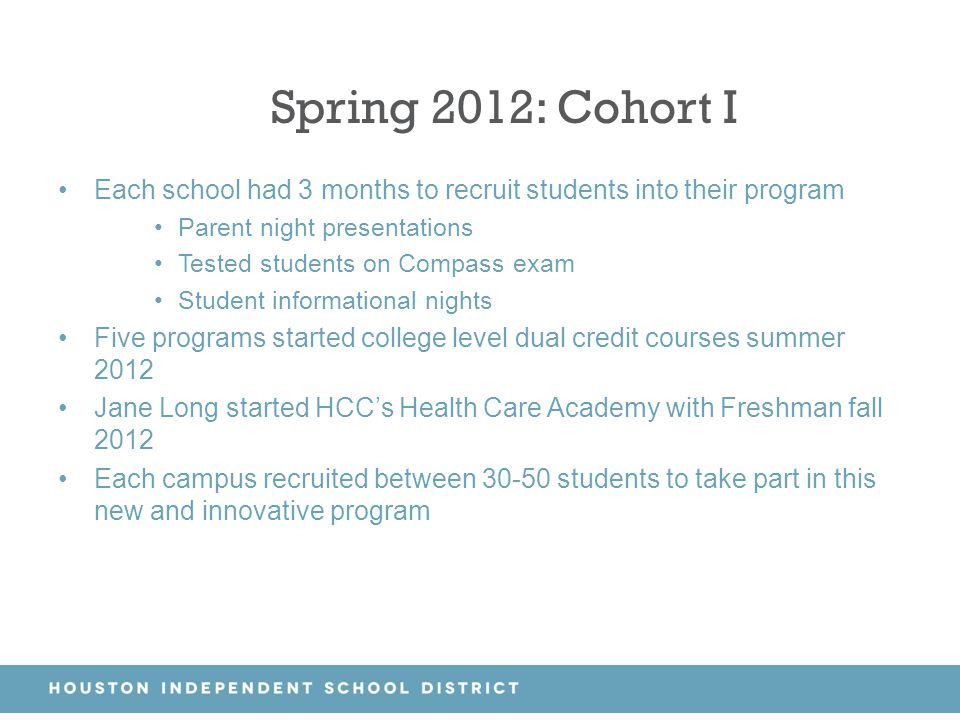 Spring 2012: Cohort I Each school had 3 months to recruit students into their program. Parent night presentations.