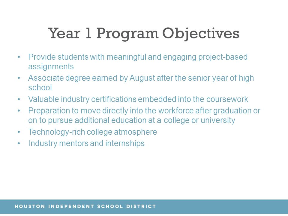 Year 1 Program Objectives