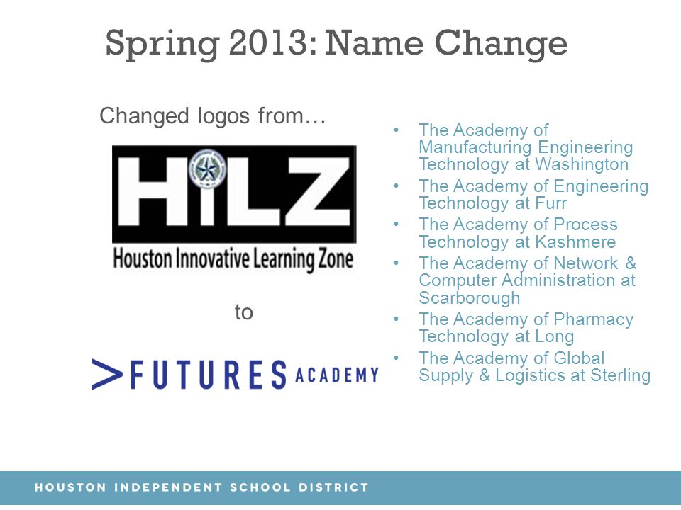 Spring 2013: Name Change Changed logos from… to