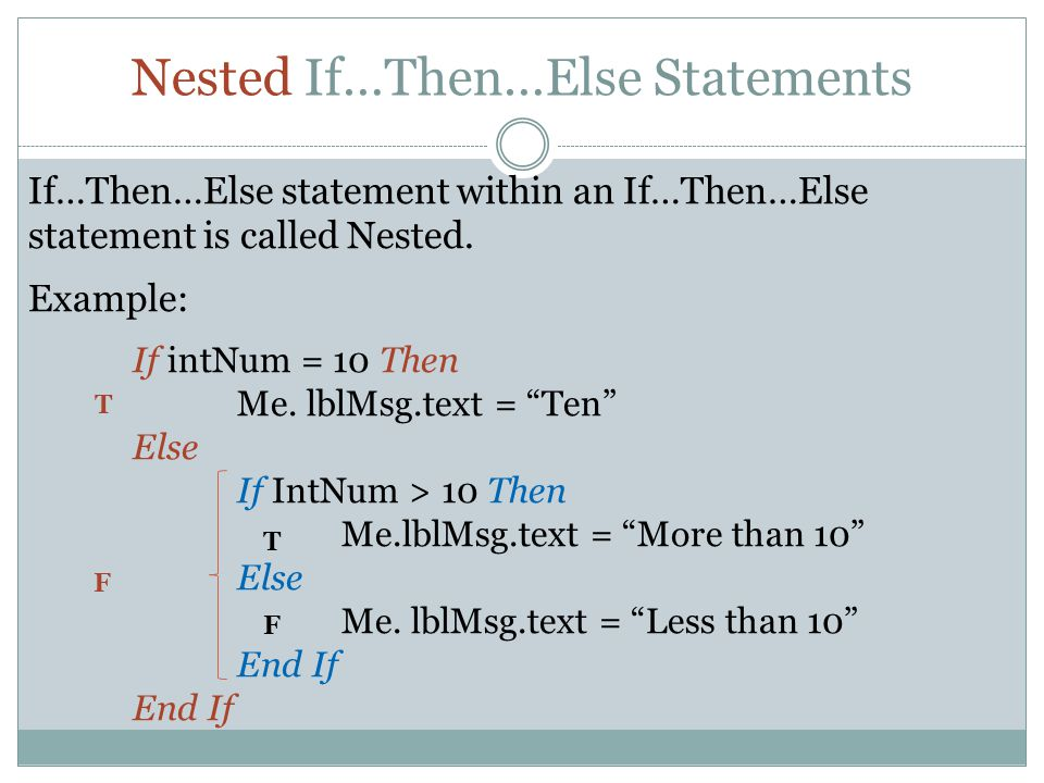 Nested If…Then…Else Statements