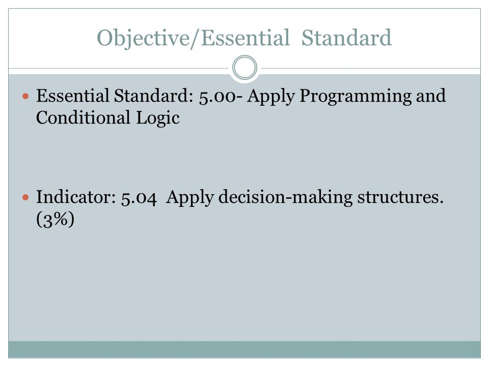 Objective/Essential Standard
