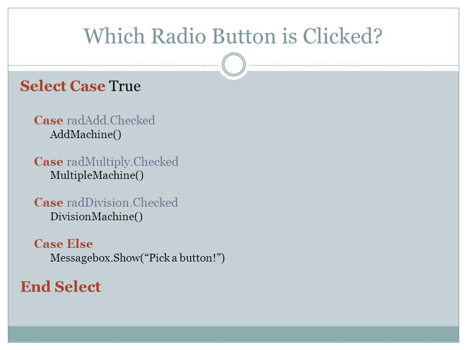 Which Radio Button is Clicked