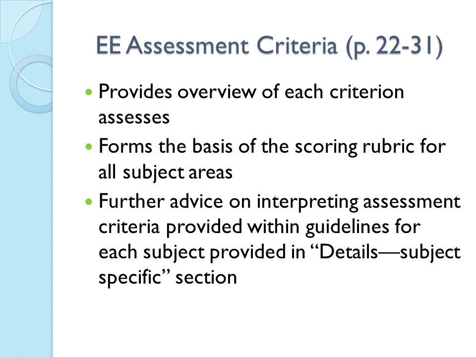 EE Assessment Criteria (p. 22-31)