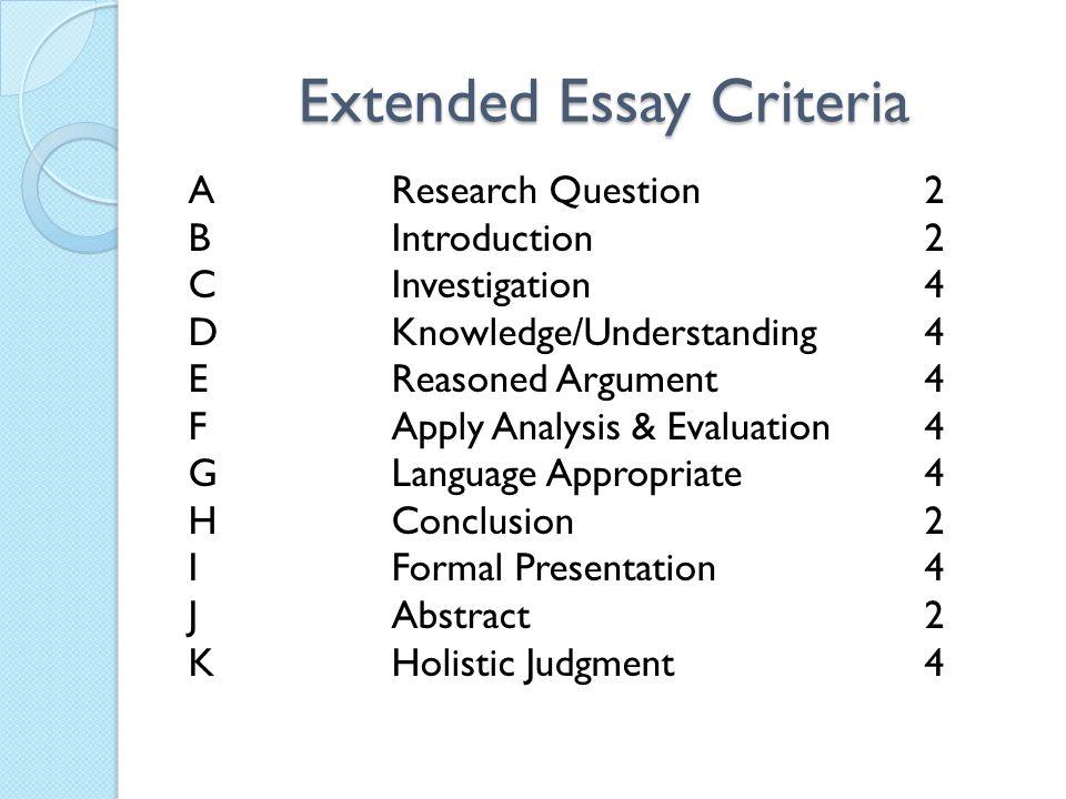 Extended Essay Criteria