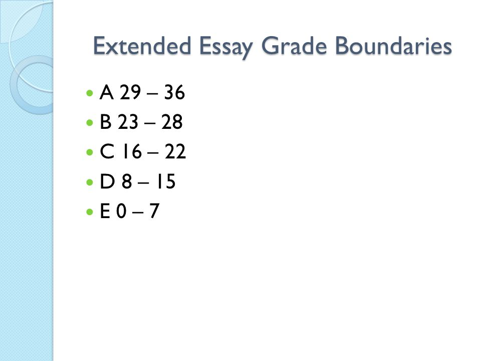 Extended Essay Grade Boundaries
