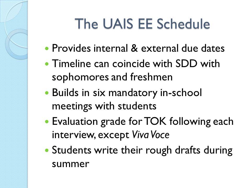 The UAIS EE Schedule Provides internal & external due dates
