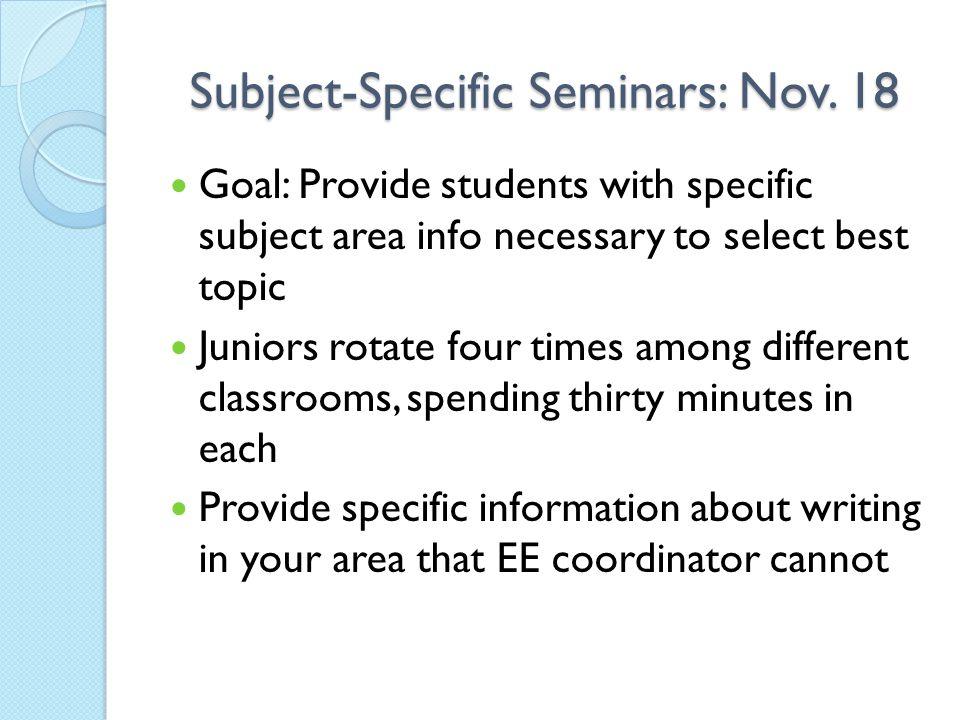 Subject-Specific Seminars: Nov. 18