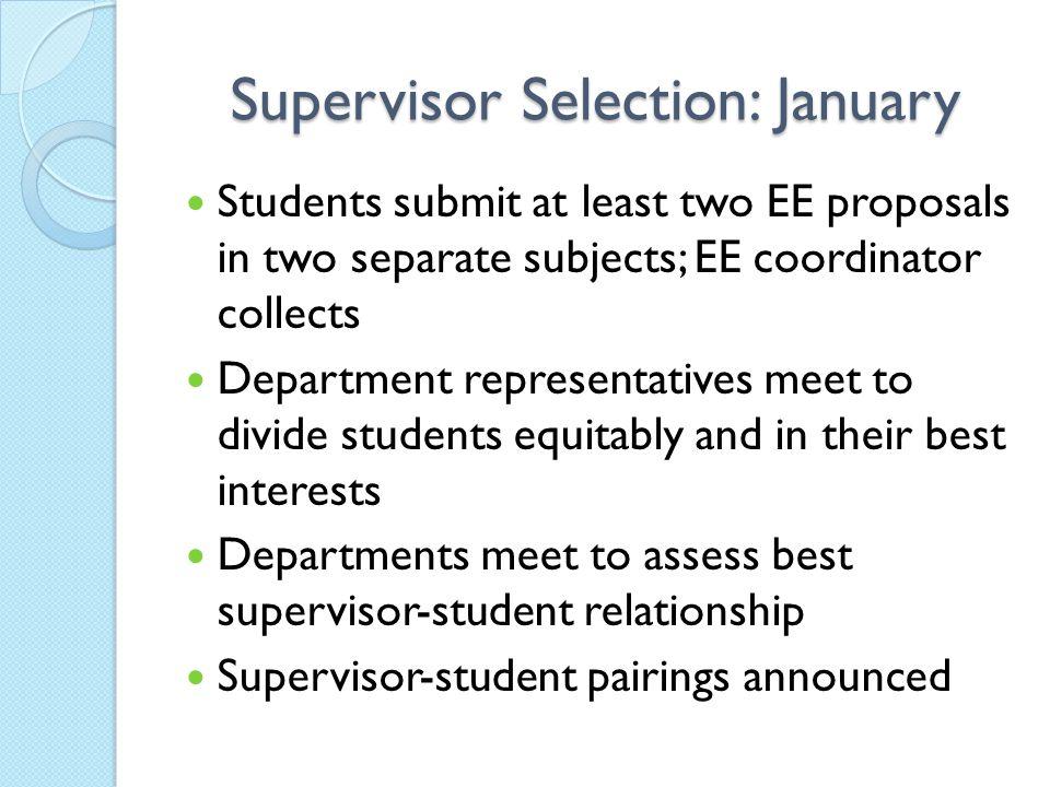 Supervisor Selection: January
