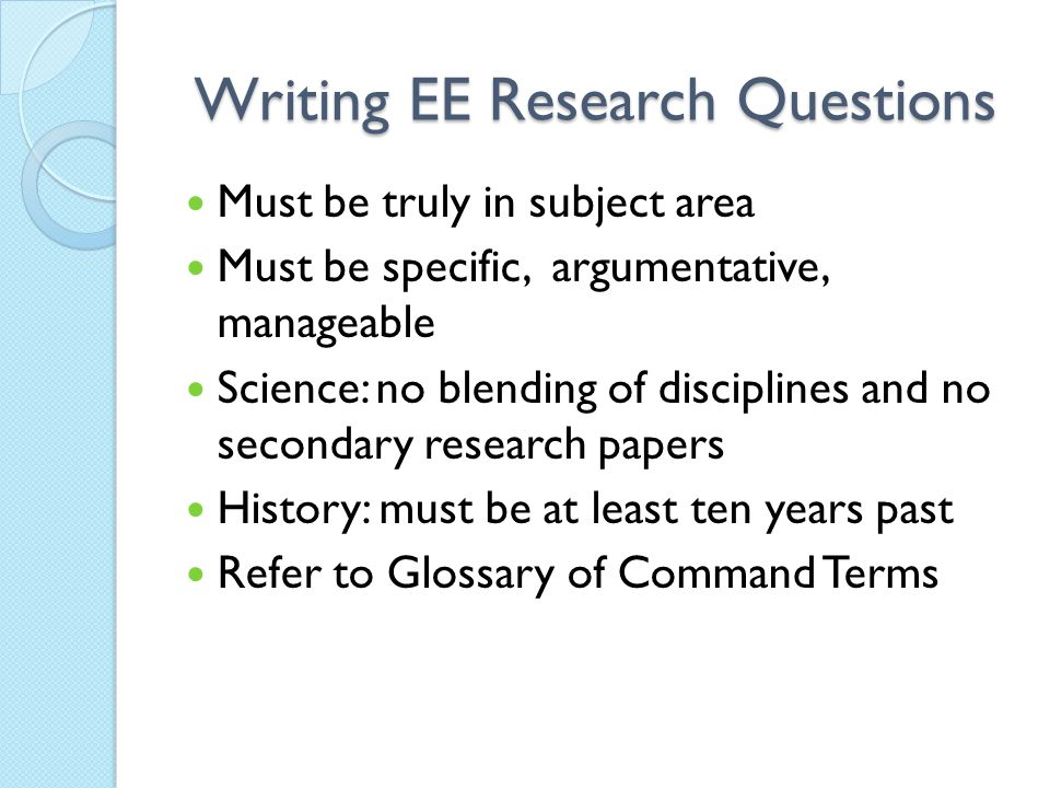Writing EE Research Questions