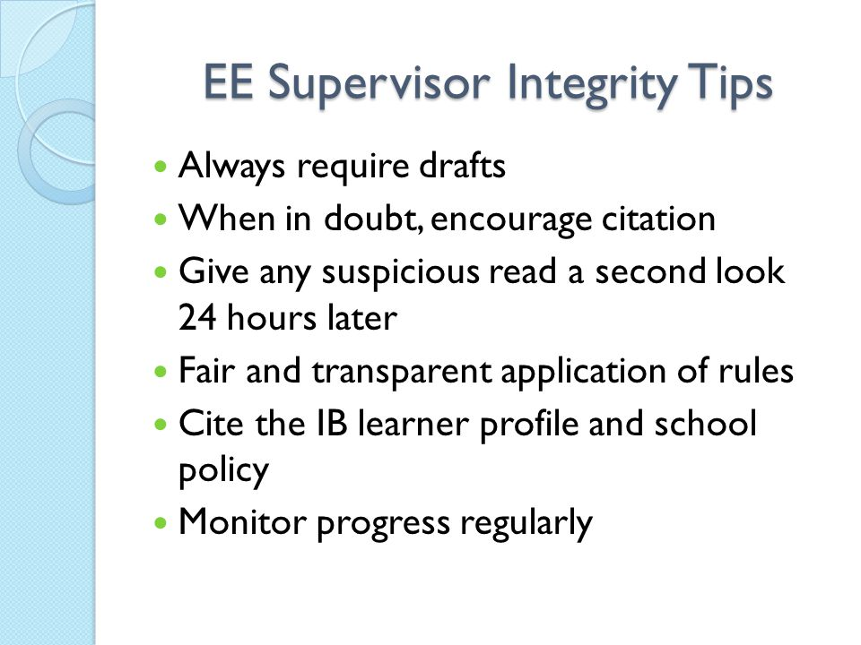 EE Supervisor Integrity Tips