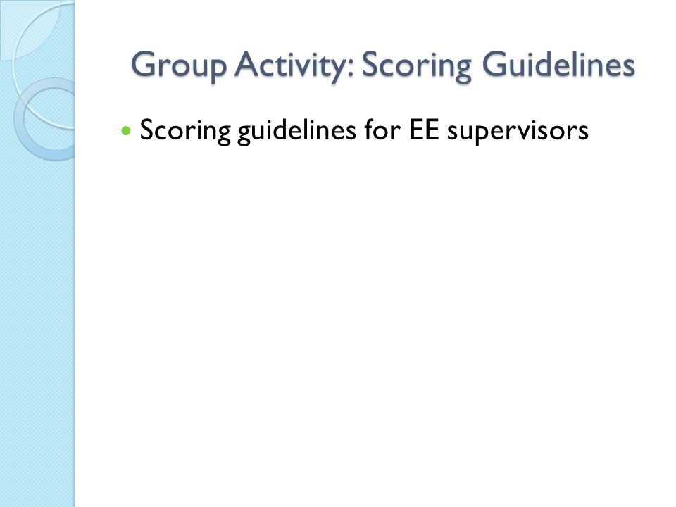 Group Activity: Scoring Guidelines