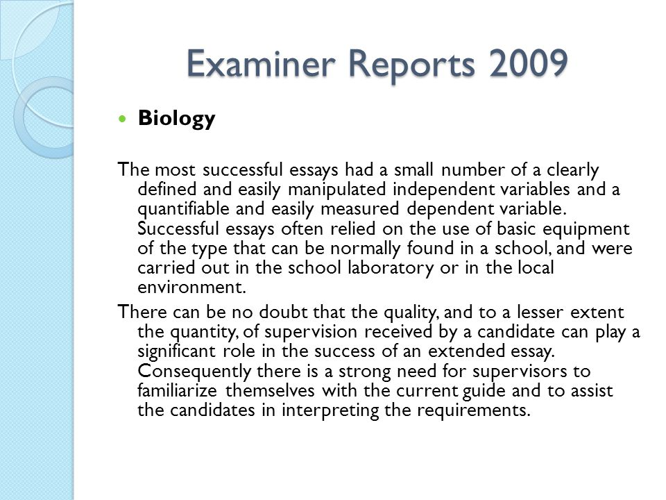 Examiner Reports 2009 Biology