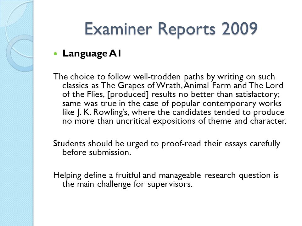 Examiner Reports 2009 Language A1