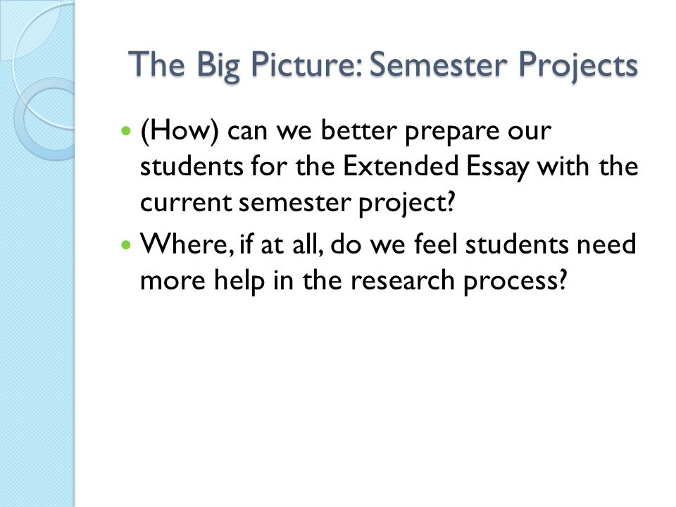 The Big Picture: Semester Projects