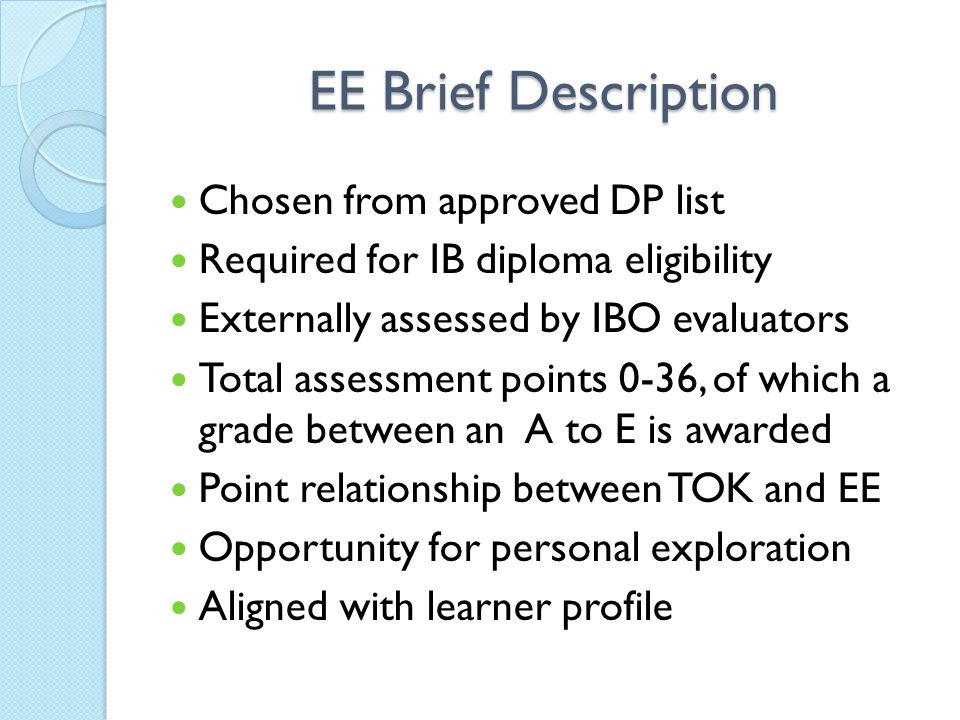 EE Brief Description Chosen from approved DP list