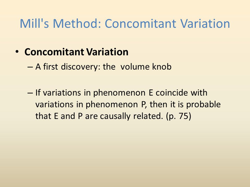 Mill s Method: Concomitant Variation