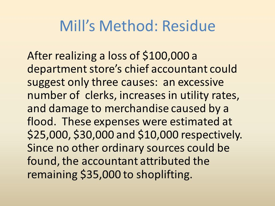Mill's Method: Residue
