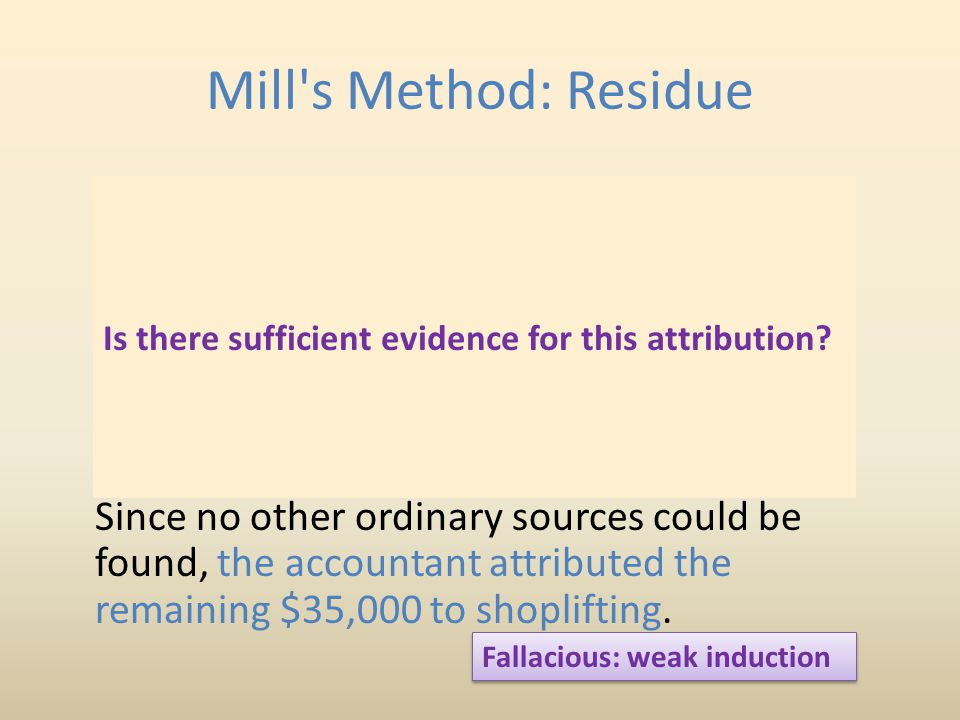 Mill s Method: Residue