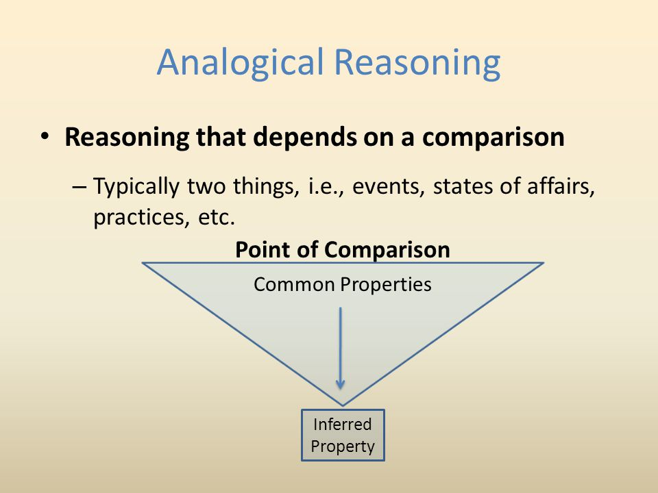 Analogical Reasoning Reasoning that depends on a comparison