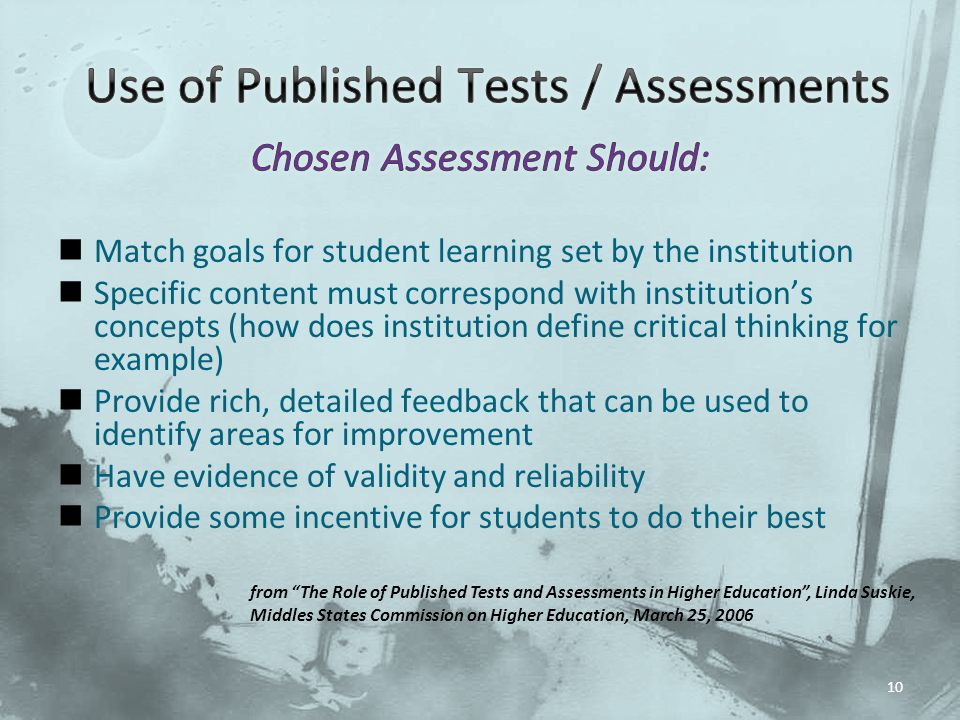 Use of Published Tests / Assessments