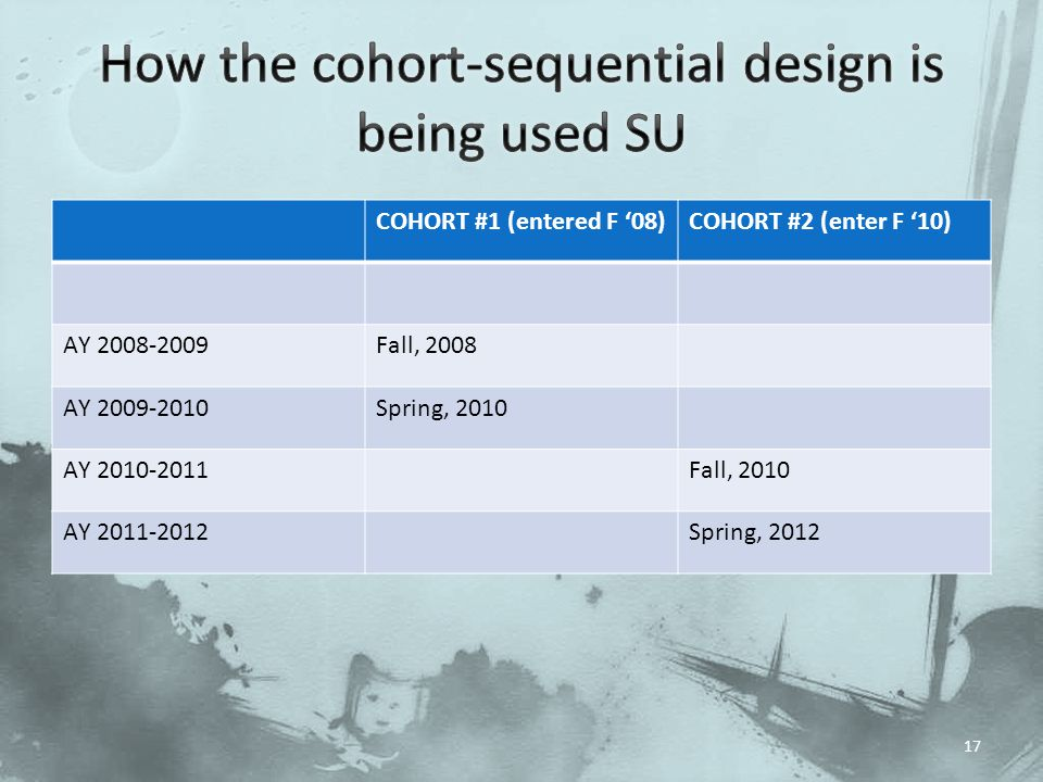 How the cohort-sequential design is being used SU