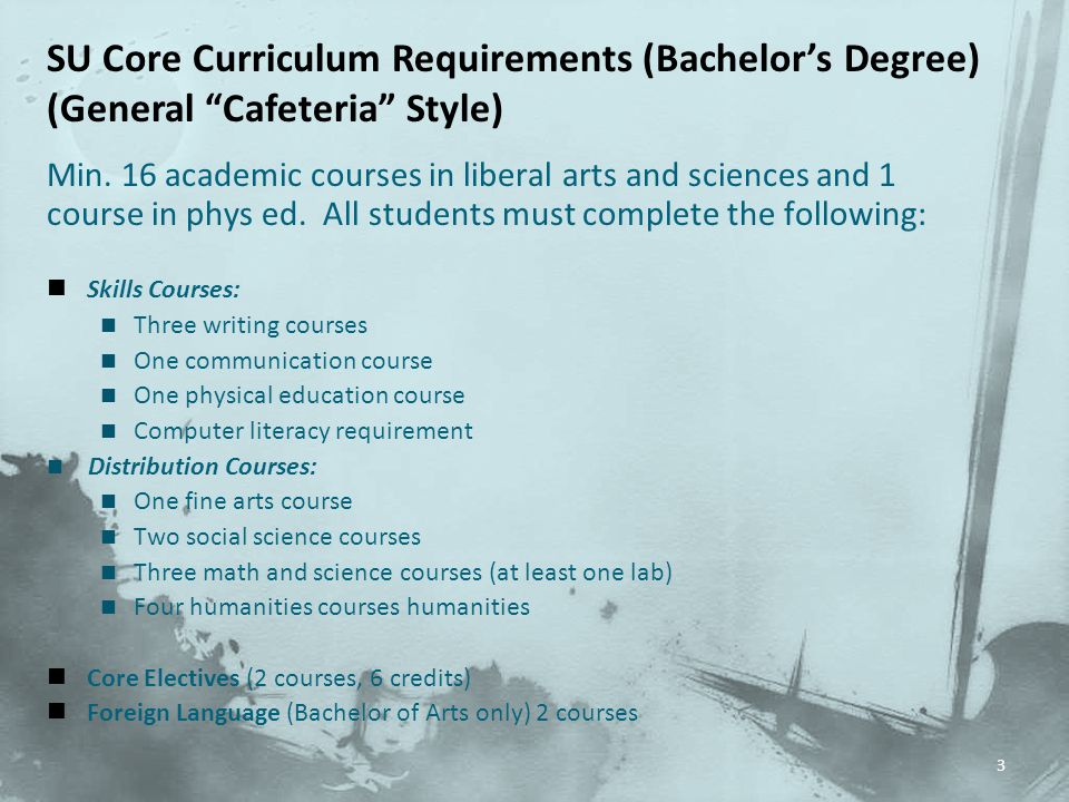SU Core Curriculum Requirements (Bachelor's Degree)
