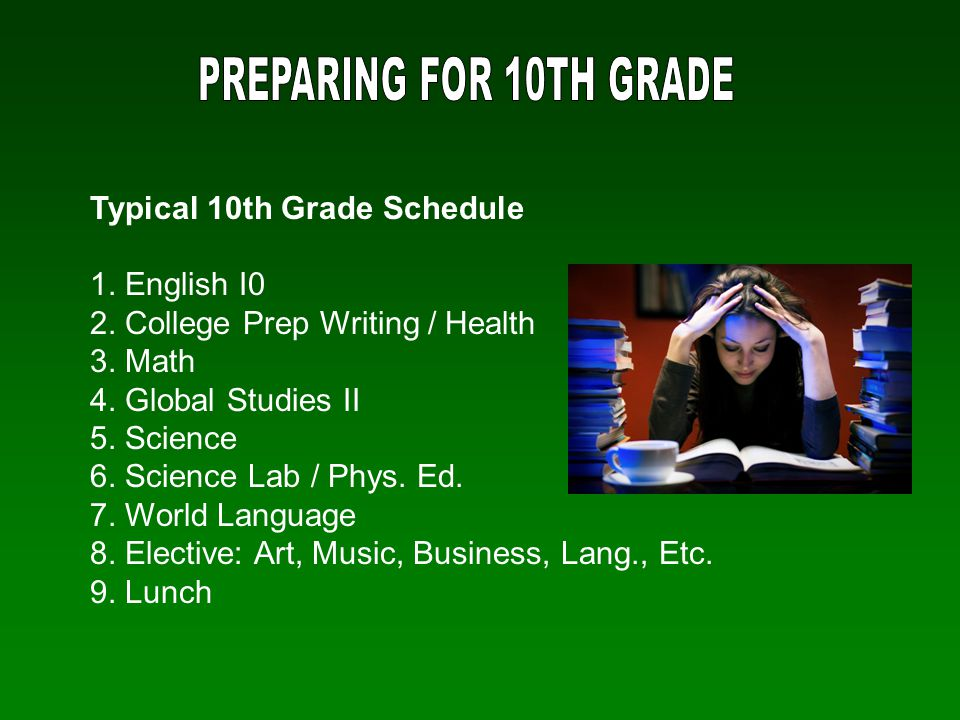 PREPARING FOR 10TH GRADE Typical 10th Grade Schedule. 1. English I0. 2. College Prep Writing / Health.