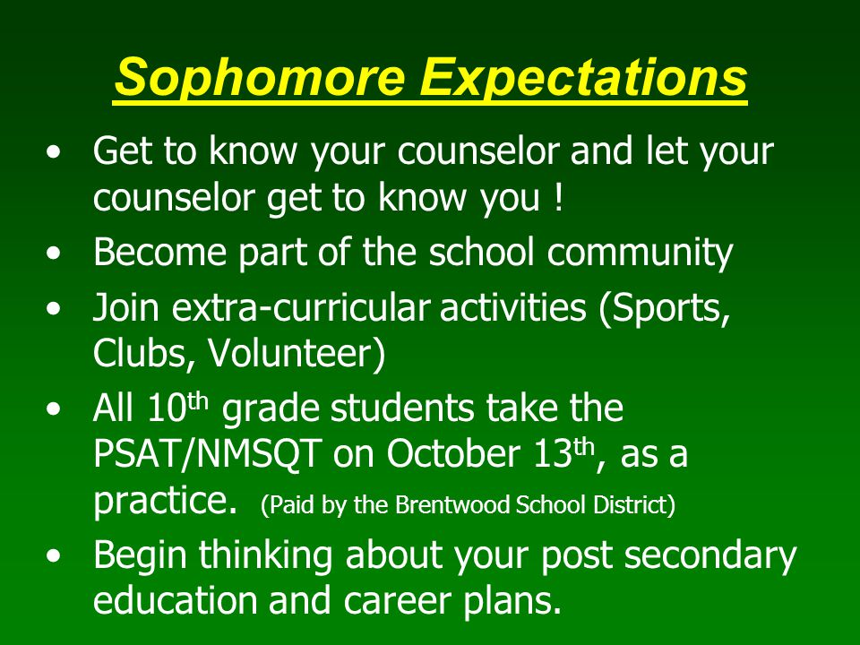 Sophomore Expectations