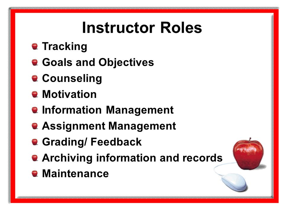 Instructor Roles Tracking Goals and Objectives Counseling Motivation