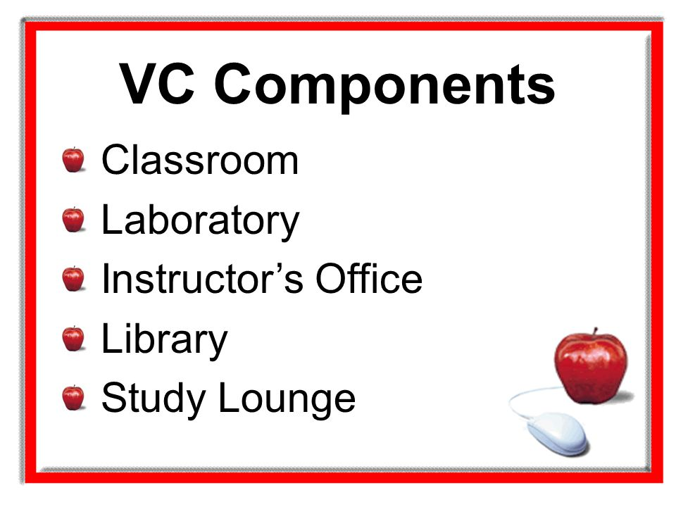 VC Components Classroom Laboratory Instructor's Office Library