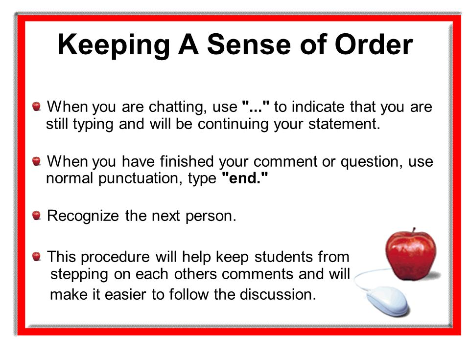 Keeping A Sense of Order
