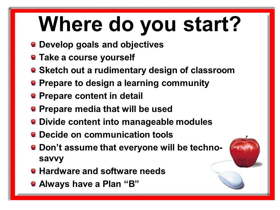 Where do you start Develop goals and objectives